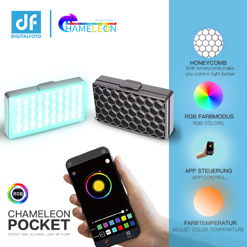 CHAMELEON POCKET RGB LED Panel Light with App Control 37 RGB Effect Flicker Free