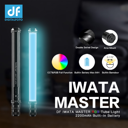 DF IWATA 16W Master R/E Handheld CCT/RGB LED Tube Light OLED Display with 2200mAh Built-in Battery&Barndoor